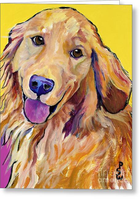 Yellow Dog Paintings Greeting Cards - Molly Greeting Card by Pat Saunders-White