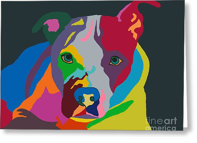 Dogs Digital Art Greeting Cards - Molly Psychedelic Greeting Card by Ania M Milo