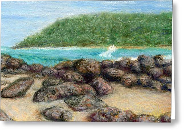 Coastal Decor Pastels Greeting Cards - Moloaa Rocks Greeting Card by Kenneth Grzesik