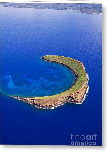 Snorkel Greeting Cards - Molokini from Above Greeting Card by Ron Dahlquist - Printscapes