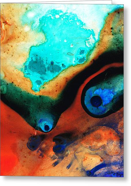 Red Abstracts Greeting Cards - Molten Earth Greeting Card by Sharon Cummings