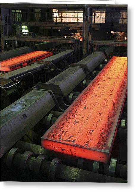 Production Line Greeting Cards - Molten Metal Bars Greeting Card by Ria Novosti
