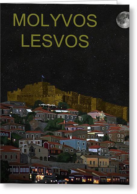 Molyvos By Night  Molyvos Lesvos Greece   Greeting Card by Eric Kempson