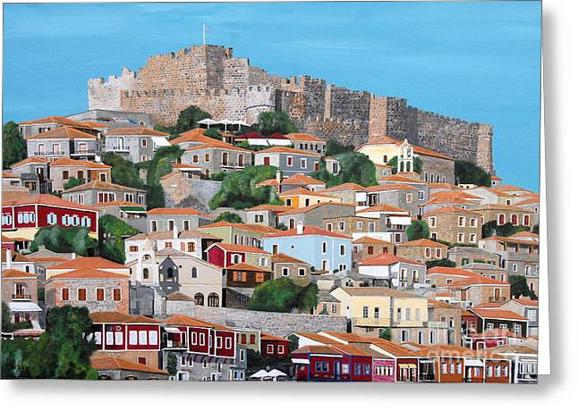 Molyvos Lesvos Greece Greeting Card by Eric Kempson