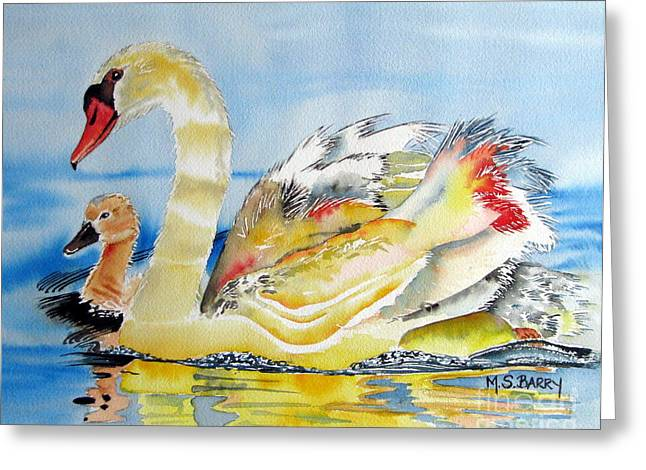 Mom And Baby Greeting Card by Maria Barry
