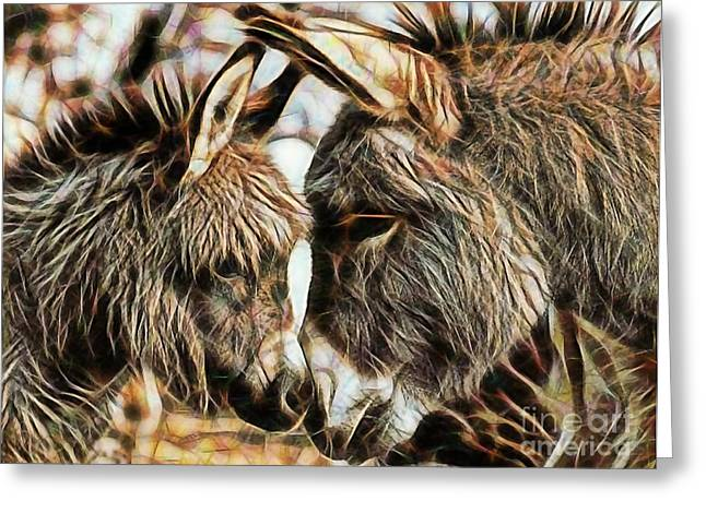 Donkey Mixed Media Greeting Cards - Mom and Child Greeting Card by Marvin Blaine