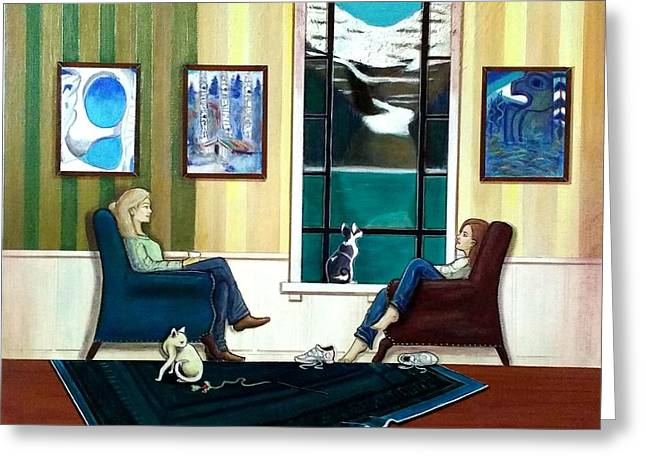 Mom And Daughter Sitting In Chairs With Sphynxes Greeting Card by John Lyes