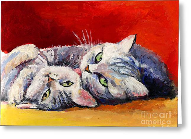 Cat Drawings Greeting Cards - Mom and kitten cat painting Greeting Card by Svetlana Novikova