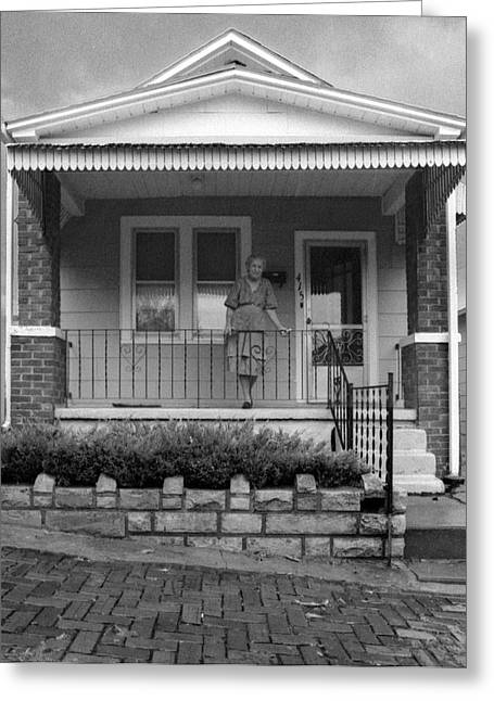 Strawberry Hill Greeting Cards - Mom on Front Porch Greeting Card by Don Wolf