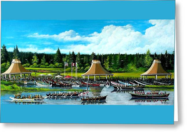 People Tapestries - Textiles Greeting Cards - Moment in Time Canoe Festivall Greeting Card by Bob Patterson