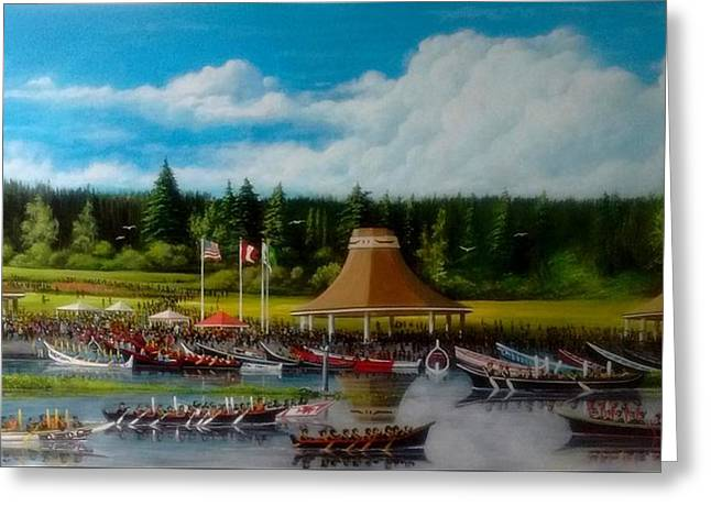 Canoe Greeting Cards - Moment in Time Festival Greeting Card by Bob Patterson