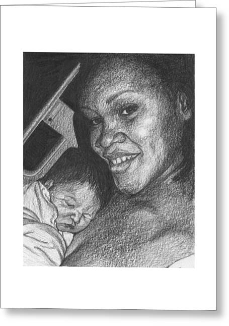 Daughter Gift Greeting Cards - Moments After Birth Greeting Card by Susan Singer