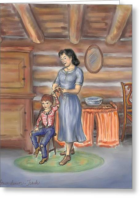 Mountain Cabin Drawings Greeting Cards - Moments With Mom Greeting Card by Dawn Senior-Trask