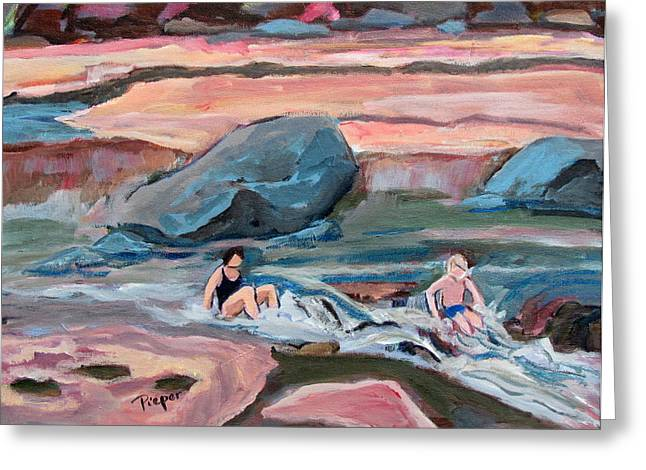 Slide Paintings Greeting Cards - Momma at Slide Rock Park Arizona Greeting Card by Betty Pieper