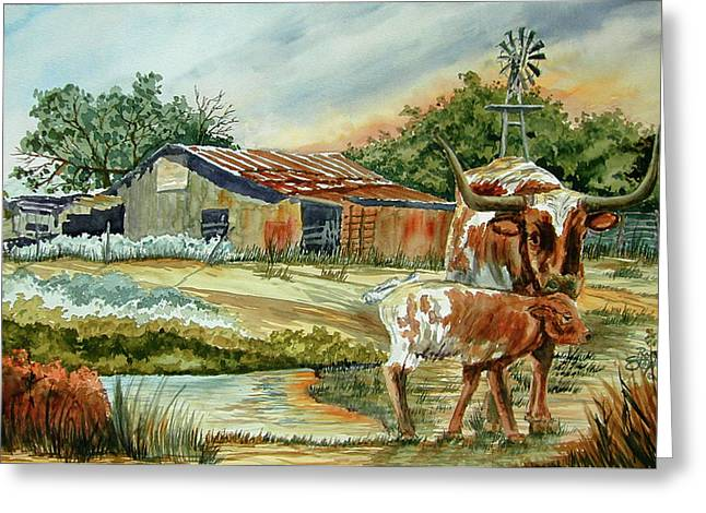 Momma Longhorn And Calf Greeting Card by Ron Stephens