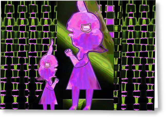 Endorsing Greeting Cards - Mommy I have a secret  Flower Girl to Flower Mom.  Flower Abstract Animation Art by Navin Joshi  On  Greeting Card by Navin Joshi