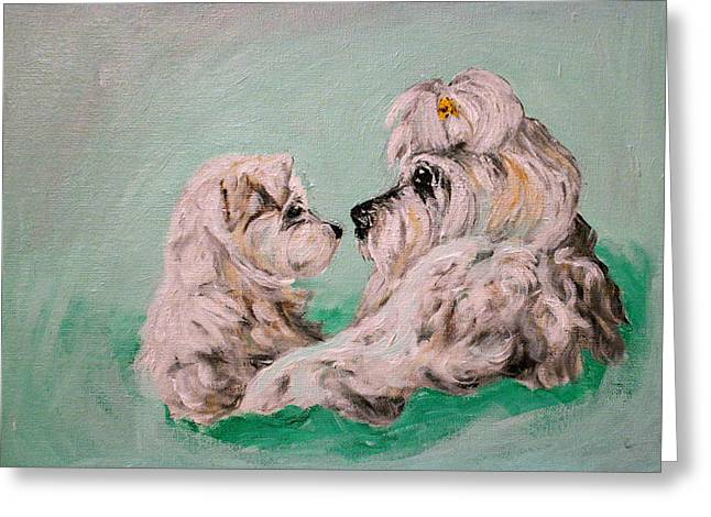 Maltese Drawings Greeting Cards - Mommy Love Greeting Card by BJ Redmond