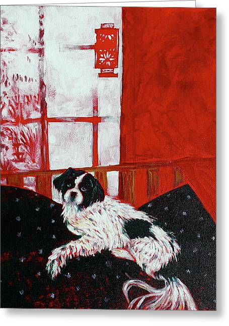 Dog On Couch Greeting Cards - Momo Portrait Greeting Card by Linda J Bean