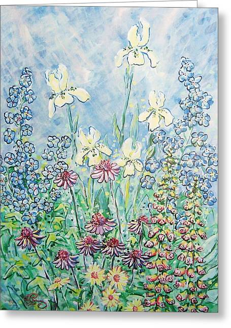 Abstracted Coneflowers Greeting Cards - Moms Garden Greeting Card by Robert Findley