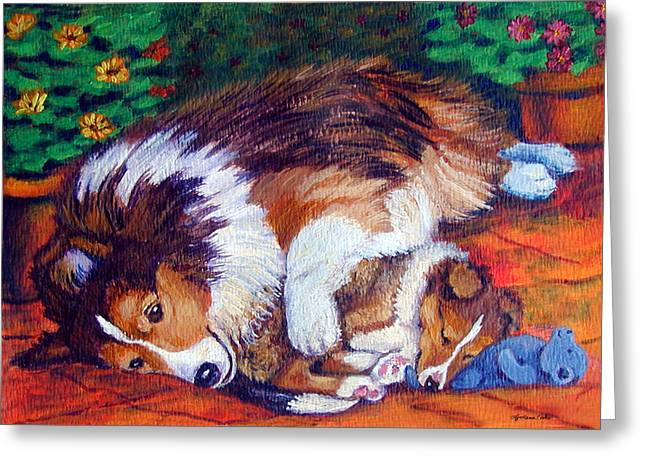 Sheepdog Greeting Cards - Moms Love - Shetland Sheepdog Greeting Card by Lyn Cook