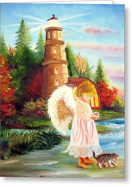 Cherubic Greeting Cards - Mon petit ange  My Little Angel Greeting Card by Marcel Quesnel