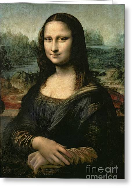 Portraits Oil Greeting Cards - Mona Lisa Greeting Card by Leonardo da Vinci