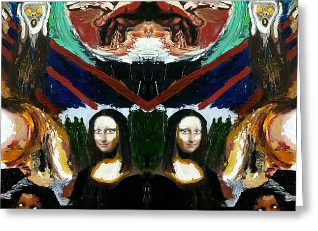 Mona Lisas Screams Greeting Card by Scott D Van Osdol