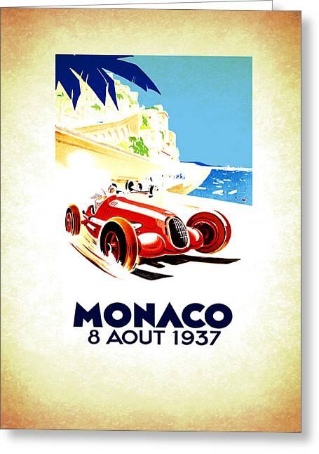 Monaco 1937 Greeting Card by Mark Rogan