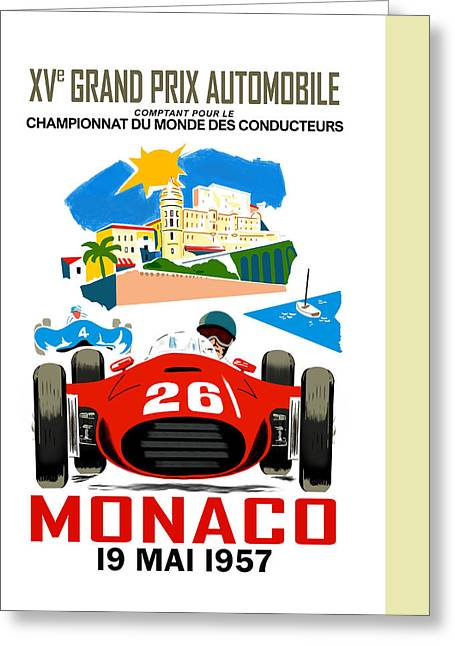 Sports Photographs Greeting Cards - Monaco 1957 Greeting Card by Mark Rogan
