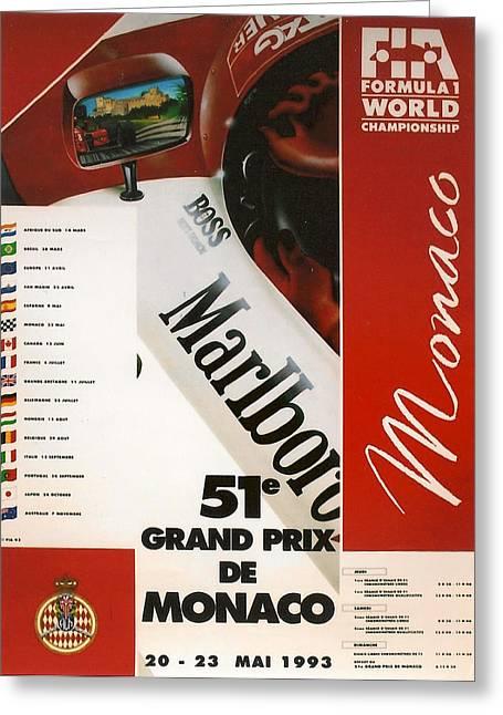 Monaco F1 1993 Greeting Card by Georgia Fowler