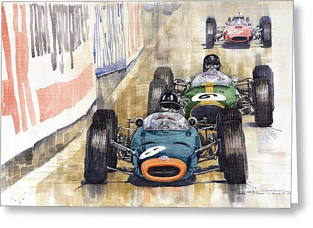 Automotive Greeting Cards - Monaco GP 1964 BRM Brabham Ferrari Greeting Card by Yuriy  Shevchuk