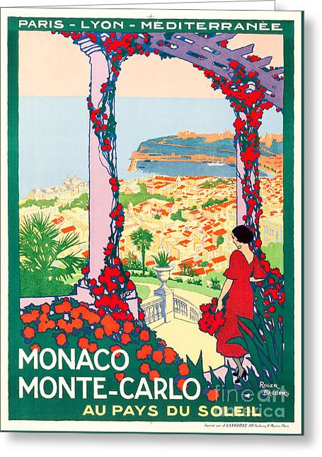 Monaco Monte-carlo Travel Poster 1922 Greeting Card by Vincent Monozlay