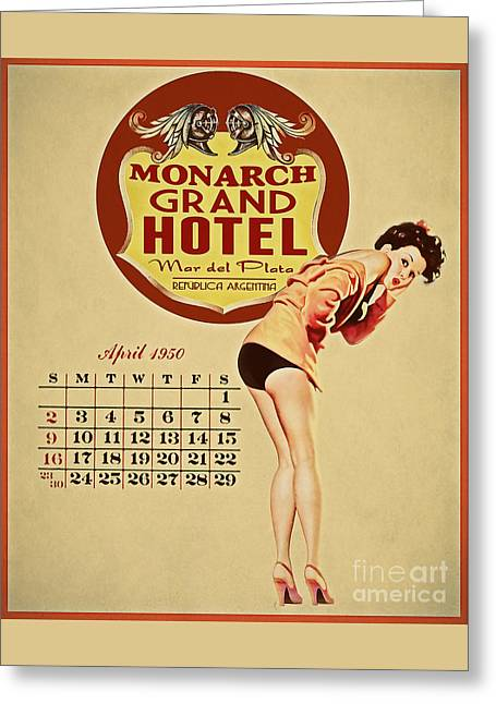 Vintage Pinup Greeting Cards - Monarch Grand Hotel Greeting Card by Cinema Photography
