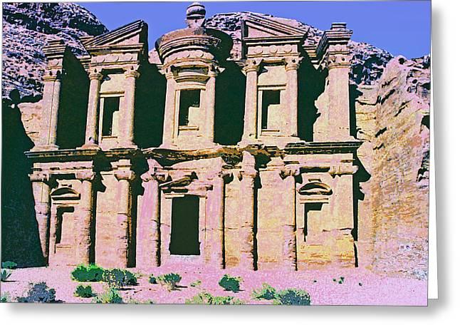 Best Sellers -  - Jordan Mixed Media Greeting Cards - Monastery at Petra Greeting Card by Dominic Piperata