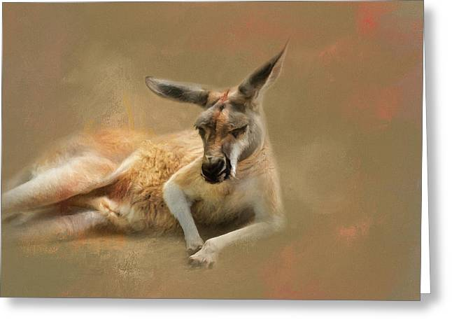Monday Morning Drowsies Kangaroo Art Greeting Card by Jai Johnson