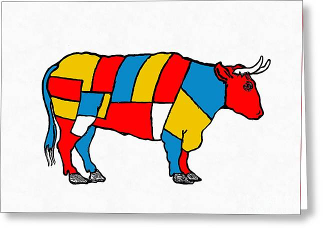 Mondrian Cow Greeting Card by Edward Fielding