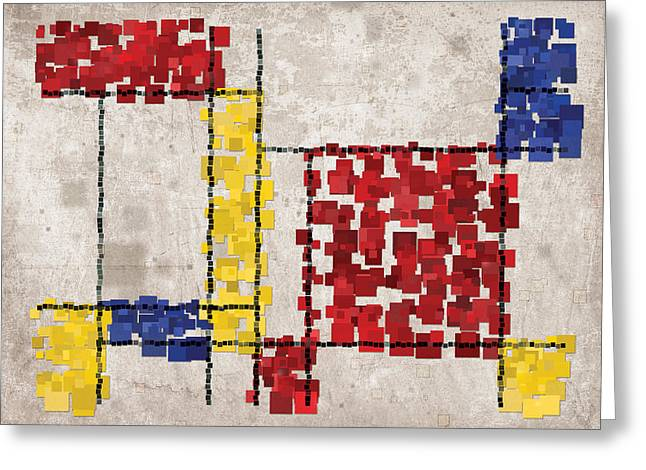 Neo-plasticism Greeting Cards - Mondrian Inspired Squares Greeting Card by Michael Tompsett