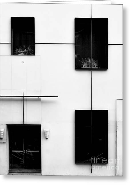 Stainless Steel Greeting Cards - Mondrianic Fascade - Monochrome Greeting Card by James Aiken