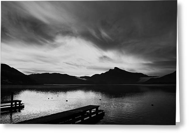 Peaceful Scenery Greeting Cards - Mondsee Lake Sunset Greeting Card by Peter