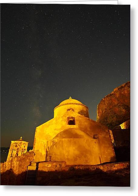 Stary Sky Greeting Cards - monemvasia XIX Greeting Card by Milan Gonda