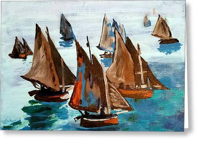 Monet Fishing Boats Calm Seas Greeting Card by Scott D Van Osdol