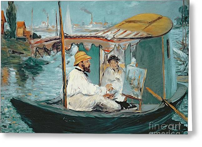 1874 Paintings Greeting Cards - Monet in his Floating Studio Greeting Card by Edouard Manet