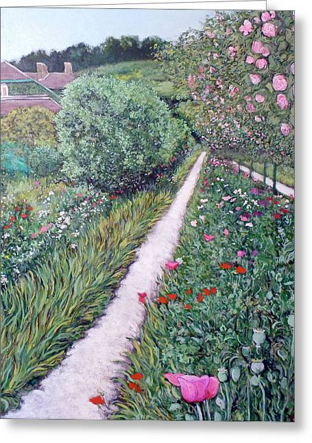 Rosebush Greeting Cards - Monets Garden Path Greeting Card by Tom Roderick