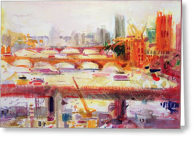City Buildings Greeting Cards - Monets Muse Greeting Card by Peter Graham