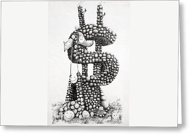 Money Monument Greeting Card by James Williamson