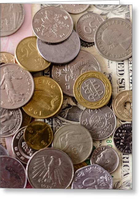 Coins Greeting Cards - Money Shot Greeting Card by A Souppes