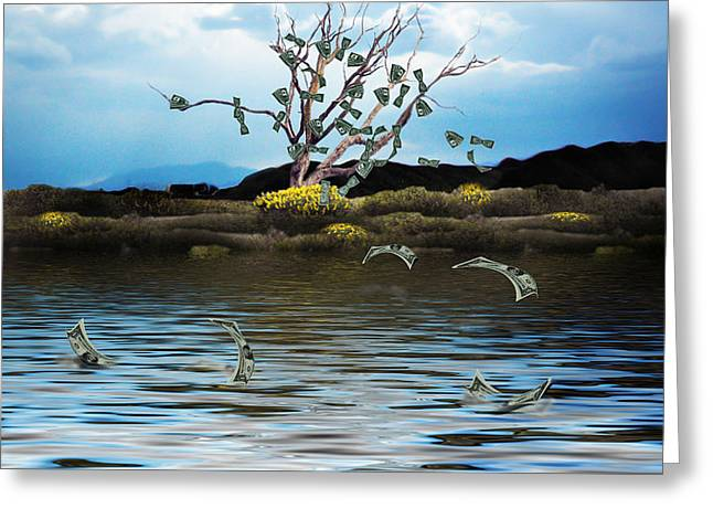 Watery Greeting Cards - Money Tree on a Windy Day Greeting Card by Gravityx9   Designs