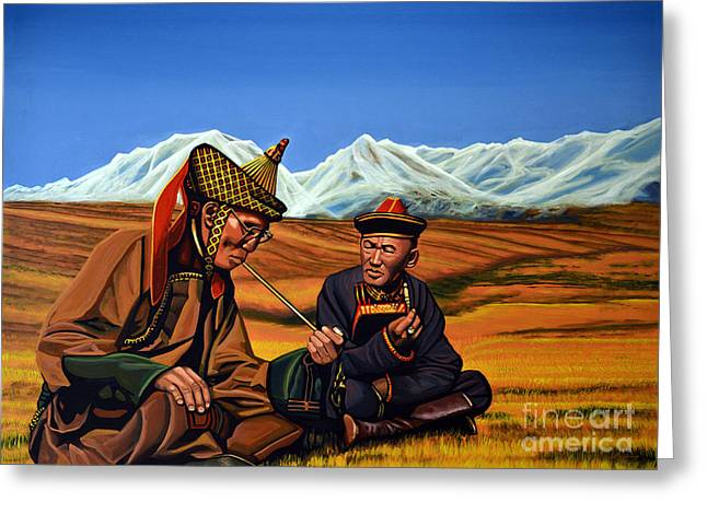 Smoking Greeting Cards - Mongolia Land of the Eternal Blue Sky Greeting Card by Paul Meijering