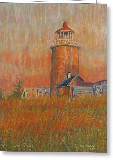 Maine Lighthouses Pastels Greeting Cards - Monhegan Sunset Greeting Card by Lynne Vokatis