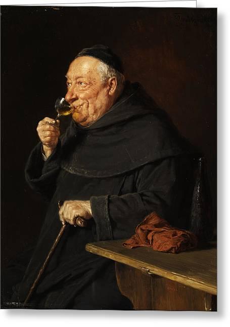 Monk With A Wine Greeting Card by Eduard von Grutzner